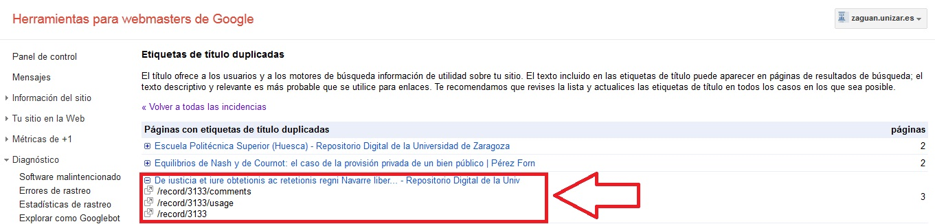 Duplicate titles CDS Invenio (SEO)